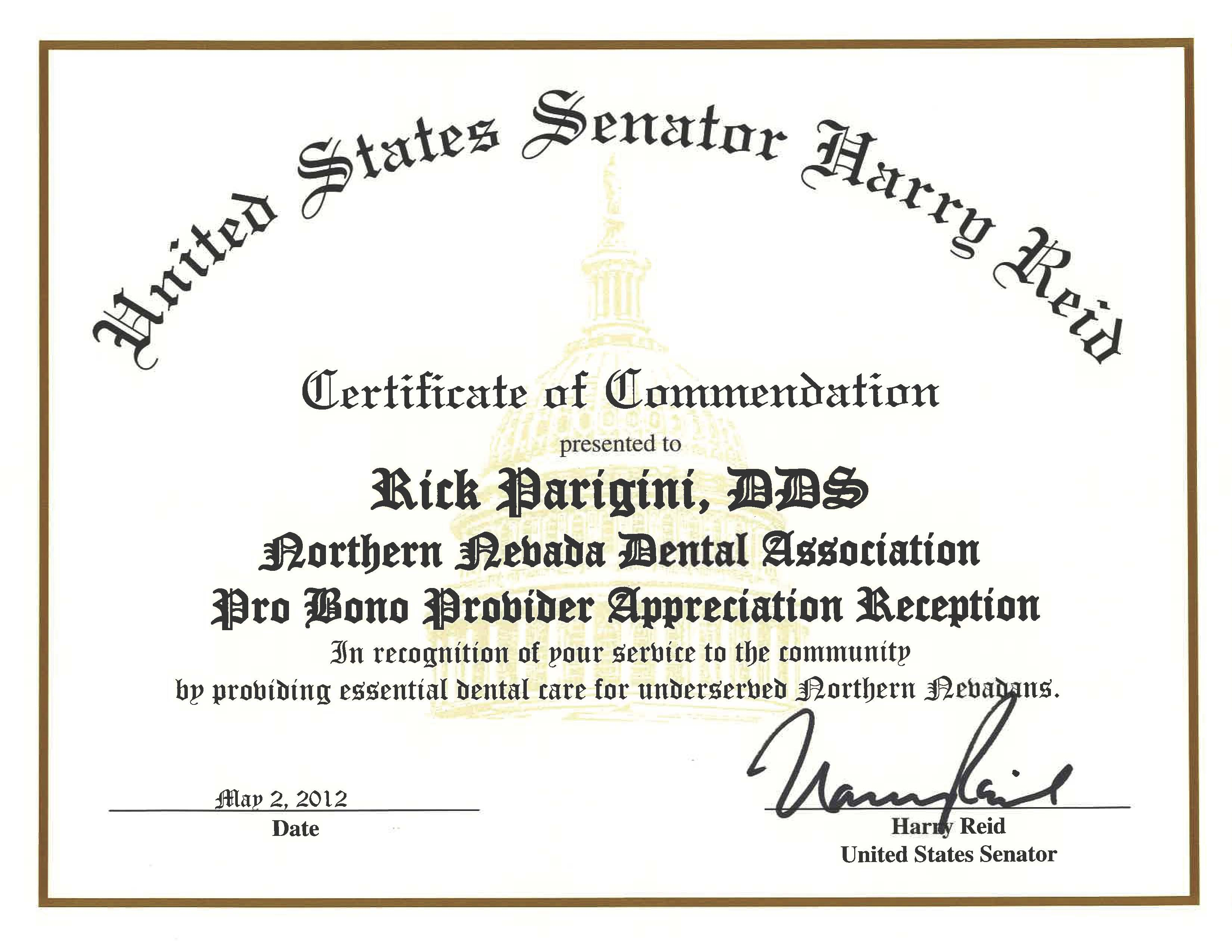 commendation from sen reid